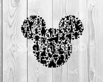 Disney character Mickey Mouse silhouette SVG DXF, cut file, cameo, cricut, Moana, Disney land, princess, magic kingdom