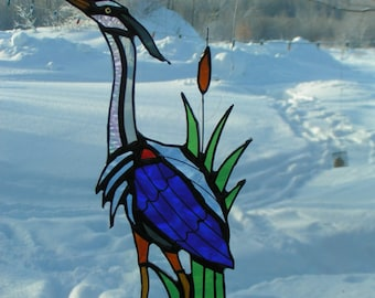 blue heron, stained glass suncatcher