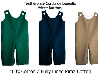 Longalls Corduroy 1 button on shoulder Fully Lined in White Embroidery Blank Featherwale Fine Wale Corduroy Long all Long-all