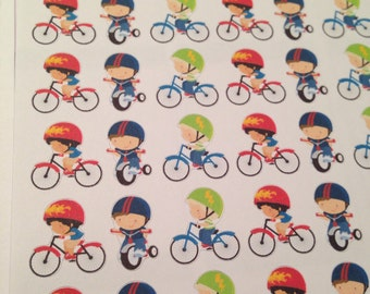Set of little boy bicyclist stickers -  for your EC, PP, planner