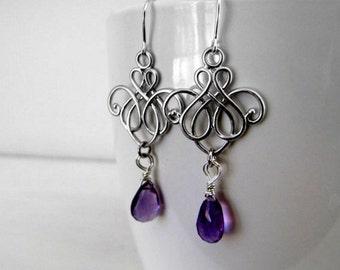 Gemstone Earrings Amethyst Earrings Purple Earrings Chandelier Earrings Gypsy Earrings Night Out Jewelry Art Nouveau Jewelry Scroll Earrings