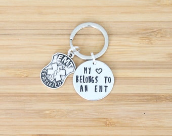 hand stamped keychain   my heart belongs to an emt