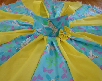 Custom Boutique Twirl Dress Designed with Disney Tinker Bell Fabric 2T- 6X