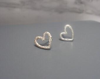 Sterling Silver Heart Studs. Silver Heart Stud Earrings. Sterling Silver Earrings. Minimalist Studs. Minimalist Earrings. Ready To Ship.
