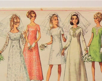 1960s Wedding dress pattern, A-line princess seams gown, bridesmaid dress, vintage sewing pattern, Simplicity 7538 misses, size 12 bust 34