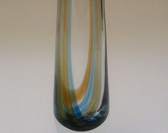 Caithness brown and blue striped vintage retro 70s heavy based tapered vase