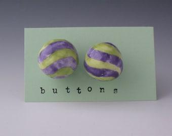 Ceramic Button, Buttons Ceramic, Green Ceramic Buttons, Ball Buttons, Childrens Buttons, Striped Buttons