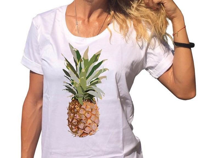 Handmade White Printed Hawaii Pineapple T-shirt, Casual Cotton Top, Handmade Oversize Tshirt, Loose Shirt by SSDfashion