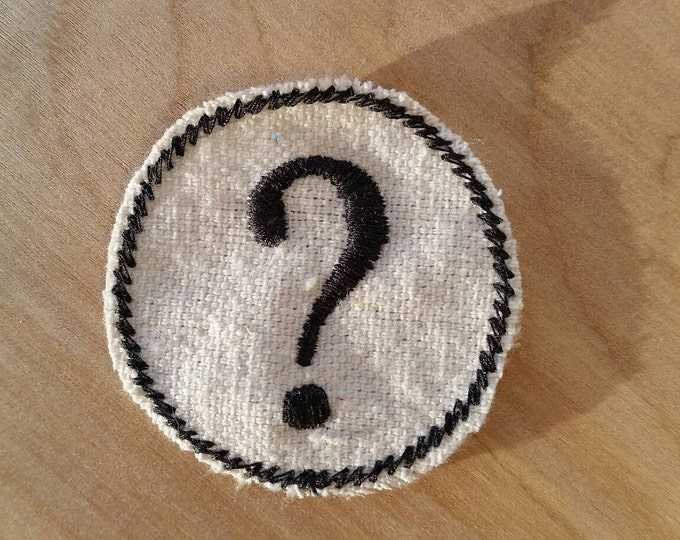 Embroidered Question Mark Upcycled Canvas Iron On Vintage Style Jacket or Hat Patch
