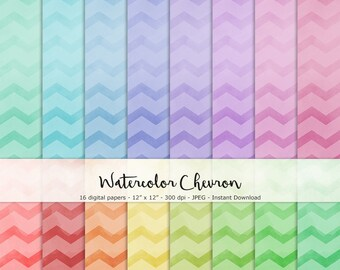 Watercolor Chevron Paper Set of 16 - Printable and Digital