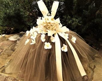 BROWN IVORY FLOWERS - Tutu Dress - Flower Girl Gown - Pageant Girl Dress - Birthday Tutu -  Brown Tutu Dress - Ivory Flowers  Bodice Dress -
