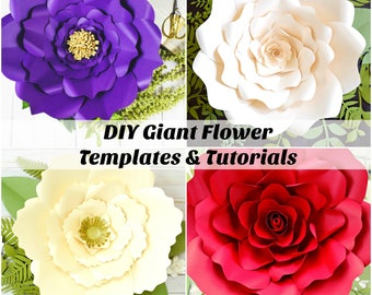 DIY Giant Paper Flower Templates and Tutorials, Wedding Backdrop, Flower Wall, Large Paper Flowers, SVG cut files, Catching ColorFlies