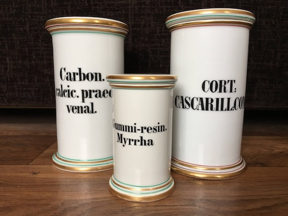 Victorian Royal Copenhagen and Bing & Grondahl apothecary ceramic lidded jars with gilding