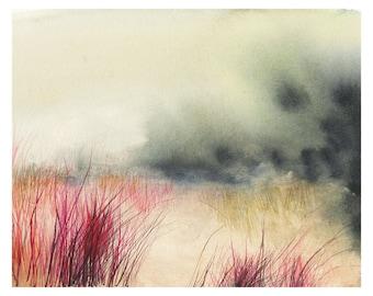 landscape painting, abstract landscape, landscape print - Dune - Print of Original Watercolor