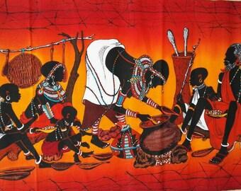 Wall hanging wax batik, Handmade wall  batik, African  batik, Living room decor, African art, Maasai batik, African art