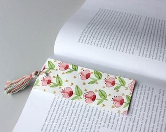 Flower bookmark// hand painted watercolor bookmarks // tassel bookmarks