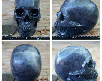 """1.99"""" 3.7oz 103.4g Picasso Jasper Skull Realistic Crystal Healing Magical Metaphysical Mystic Reiki Wicca Large Grey Gray 2 inch SK1086"""