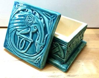 Celtic Dragon ceramic trinket box in turquoise.