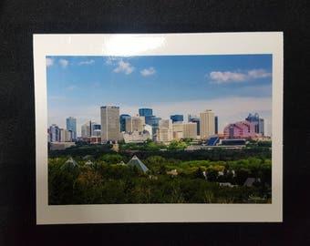 """Edmonton Skyline Summer Blank Card 4.25""""x5.5"""" Edmonton, Alberta, Canada."""