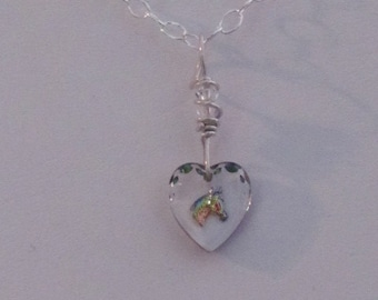 Sterling Silver Wire Wrapped Glass Heart w/ an Etched Horse Head Heart w/ Swarovski crystal Pendant
