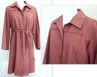 Mauve Raincoat, Vintage 1970's Dark Pink Trench Coat, Modern Size 10 - 12, Medium