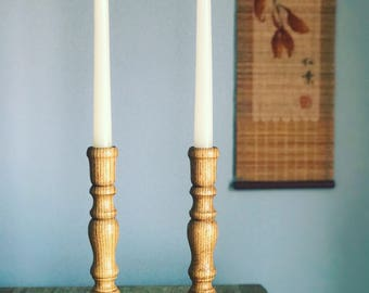 Tall Vintage Wood Candlestick Holders // Bohemian Gypsy //Boho Decor // Candle