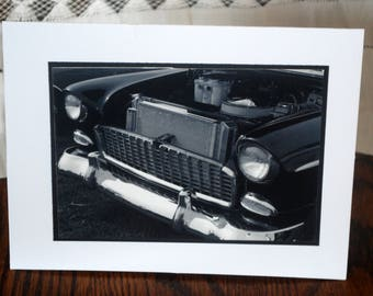 photo card, classic car photograph black and white