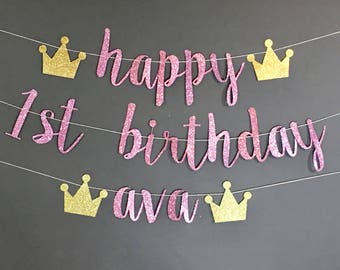 FIRST BIRTHDAY PARTY, first birthday decorations, first birthday princess party, first birthday decor, first birthday custom name banner