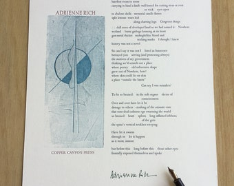 Equinox - Signed Adrienne Rich Letterpress Broadside