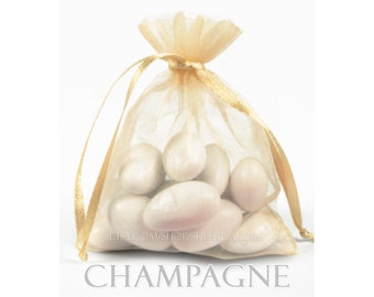 30 Champagne Organza Bags, 6 x 9 Inch Sheer Fabric Light Gold Favor Bags