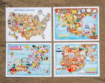 Set of 8 Map Illustration Postcard Mini Prints