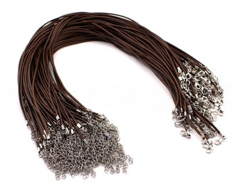 "50 Brown 18"" Imitation Leather Cord Necklaces - With Lobster Clasp - 2mm Thick - 18 to 20 Inch With Extension Chain"