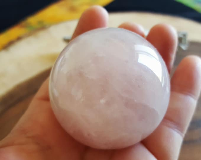 Rose Quartz A Grade Sphere ~ One 50mm Reiki infused crystal ball with stand (RQ11)