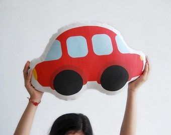 Red car, Soft pillow, stuffed toy, soft toy, Children pillow, Boys room, kids toy, baby toy, nursery toy, plush toy car, kids pillow