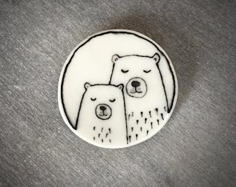Family bear brooch pin made from ceramic porcelain