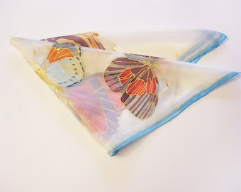 Small silk scarf, nature lover gift, hand painted scarf, butterfly scarf, silk accessory, silk gift for her - ready to ship