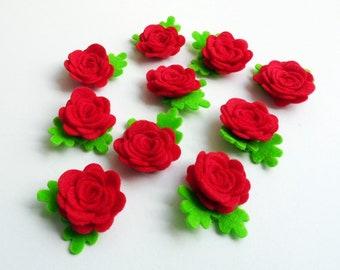 Aplique rosas rojas, aplique fieltro, flores fieltro, rosas fieltro, fieltro troquelado, rosas pequeñas, flores para diademas