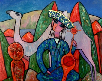 """Original Abstract painting""""Old Melody"""" from artist N.Jholbunov."""