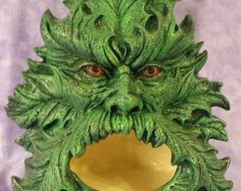 "Greenman Chimnea 9"" Hand Painted, Glazed inside"