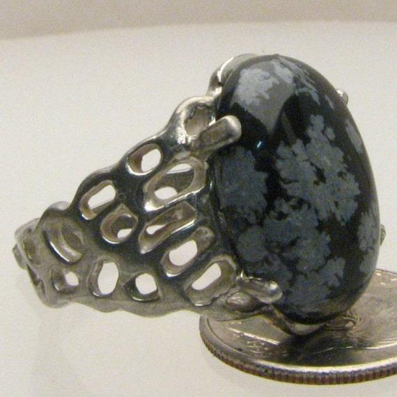 Handmade Sterling Silver Black/White Snowflake Agate Lava Ring