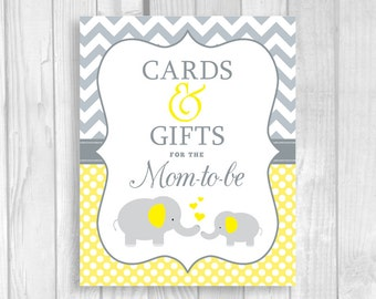 SALE Cards and Gifts for the Mom-to-Be 5x7, 8x10 Printable Elephant Baby Shower Sign Yellow and Gray Chevron Polka Dots - Instant Download