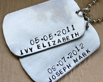 Hand Stamped Dog Tag Style Key Chain - Gift for Dad or Grandpa - Personalized with Kids Names and Birth Dates - Personalized KeyChain