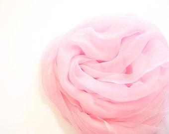 Pastel Pink Silk Scarf, Hand Dyed, Large Pink Scarf, Silk Gauze, Lightweight, Rose Quartz, Spring Summer Sheer, Blush Rose, Shell Pink Sheer