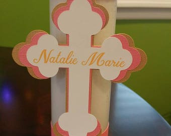 Personalized Cross Candle,  First Communion, Christening, Centerpieces, Cross Centerpieces, Baptism Centerpieces, Personalized Centerpiece