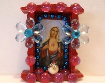 Mexican Wood Nicho, Catholic Prayer Card, Virgin Mary Shrine, Day of the Dead, Catholic Magnet, Dia de los Muertos, Mexican Folk Art