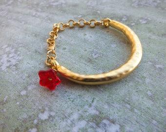 Gold Bracelet. Christmas gift. Bangle Bracelet. Boho bracelet. Stackable bracelet.