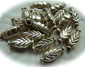 Sterling silver tube beads leaf pattern FOUR BEADS Karen Hill tribe silver primitive style beads hollow tube silver tube beads boho look