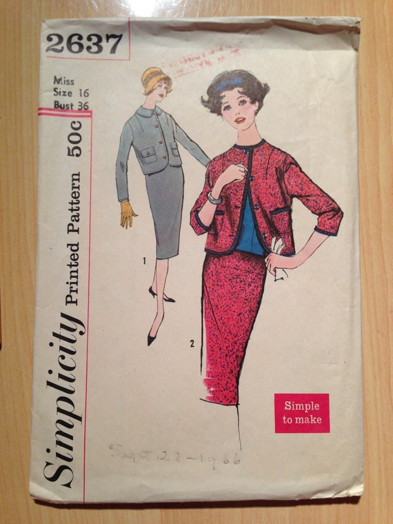 Misses and Juniors Two Piece Suit Simplicity Sewing Pattern 2637 50s Size 16