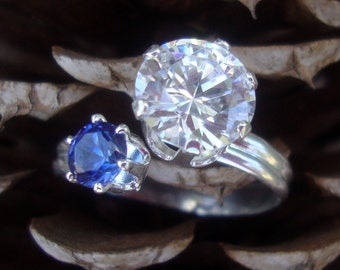 Blue Sapphire Bling Ring- CZ fake Diamond -fair trade lab stones- adjustable  sizes 5 6 7 8 9 - .925 sterling silver -other colors available