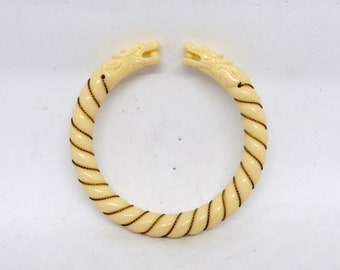 Vintage 1970-80's Faux Ivory And Rolled Gold Rope Twist Torque Bracelet With Dragon Head Terminals